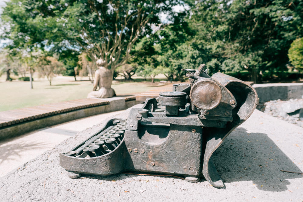 Typewriter bronze in Maryborough Botanic Garden